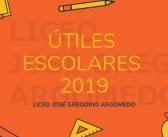 ÚTILES ESCOLARES 2019